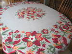 Vintage Linen Tablecloth Round
