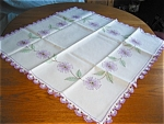 Click here to enlarge image and see more about item tabllav12031: Embroidered Lavender Flowers Tablecloth
