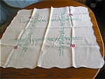 Click to view larger image of Vintage Square Linen Tablecloth  (Image1)