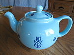 Click here to enlarge image and see more about item teapot1086: Cronin Blue Tulip Vintage Teapot