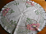 Click here to enlarge image and see more about item textile111306: Vintage Mission Style Linen Tablecloth