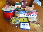 Click here to enlarge image and see more about item tins10625a: Vintage Tins and Wood Display Rack