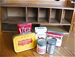 Click here to enlarge image and see more about item tins10626: Vintage Tobacco Tins and Wood Rack