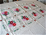 Click here to enlarge image and see more about item tlinen20511: Belgian Linen Embroidered Tablecloth