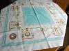 Click to view larger image of Vintage Cotton Aqua Square Tablecloth (Image3)
