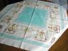 Click to view larger image of Vintage Cotton Aqua Square Tablecloth (Image7)