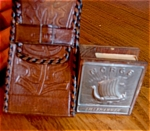 Click here to enlarge image and see more about item tobac90525: Pewter Matchsafe and Leather Cigarette Case