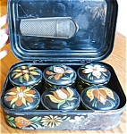 Click here to enlarge image and see more about item tole80425: Toleware Antique Spice Set