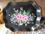 Click here to enlarge image and see more about item toletray020512: Tole Tray Pilgrim Art Vintage