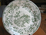 Click here to enlarge image and see more about item transferware100108: Antique Green Transferware Plate