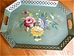 Click here to enlarge image and see more about item tray110529: Vintage Artist Signed Green Metal Tray