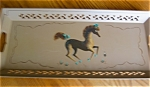 Click here to enlarge image and see more about item tray120525: Painted Metal Prancing Pony Tray