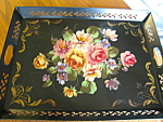 Click here to enlarge image and see more about item tray50830: Art Gift Tole Painted Tray