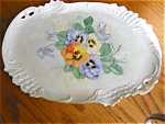 Click here to enlarge image and see more about item tray60508: Signed Porcelain Pansy Tray - Limoges?