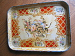 Click here to enlarge image and see more about item tray70609a: Vintage Oriental Paper Mache Tea Tray