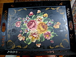 Click here to enlarge image and see more about item tray91006: Vintage Tole Painted Tray