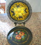 Click here to enlarge image and see more about item trays060911: Painted Trays Vintage