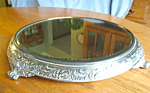 Click here to enlarge image and see more about item vanityplateau10821: Antique Van Bergh Silverplate Mirrored Plateau