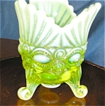 Click here to enlarge image and see more about item vase204261: Mosser Vaseline Glass Spooner