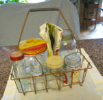 Click here to enlarge image and see more about item vintagegjars8013: Vintage Milk Bottle Rack  & Jars