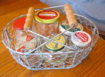Click here to enlarge image and see more about item vjars1214: Vintage Glass Jars w/Basket