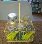 Click to view larger image of Vintage Jars w/Basket (Image1)