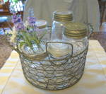 Click to view larger image of Wire Basket w/Vintage Jars (Image6)