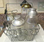 Click here to enlarge image and see more about item vmixers2014: Vintage Kitchen Glass Bottles