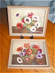 Click here to enlarge image and see more about item vprint30403: Two Vintage Floral Poppy Prints