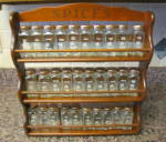 Vintage Crystal Foods Spice Jars & Rack