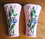 Click here to enlarge image and see more about item wallpockets112006: Vintage Wallpocket Vase Pair
