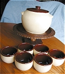 Click here to enlarge image and see more about item wat02031a: Watt Pottery Bean Pot Set