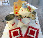Click to view larger image of Vintage Red White Kitchen Gadgets (Image2)