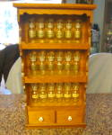 Click here to enlarge image and see more about item woodspicerack120510: Spice Jars and Wood Vintage Rack