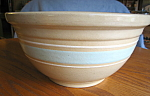 Click here to enlarge image and see more about item yellowware80610: Vintage Watt Pottery Yellow Ware Bowl