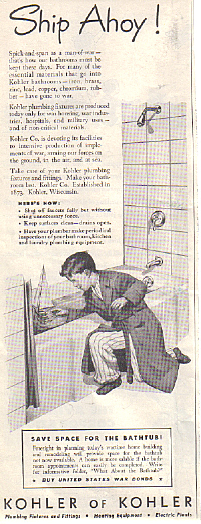 1943 KOHLER Boy - Sailboat Bathtub AD SHIP AH (Image1)