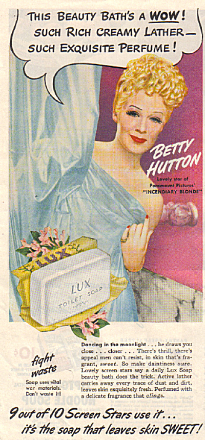 1945 LUX BETTY HUTTON Toilet Soap AD (Image1)