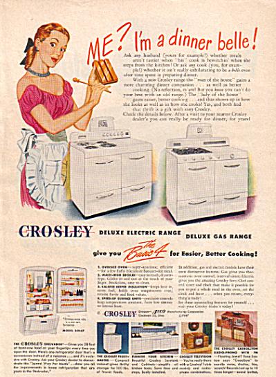 1947 Crosley DINNER BELLE Stove Range AD (Image1)
