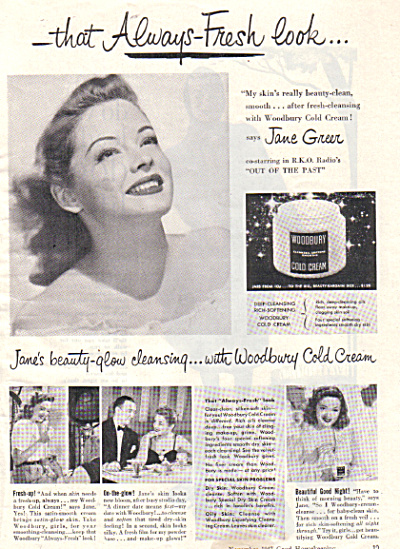 1947 JANE GREER RKO Radio Woodbury Cream AD (Image1)