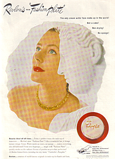 1947 Revlon FASHION PLATE Make Up AD ORIGINAL (Image1)