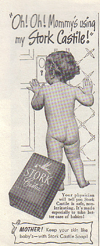 1947 Stork CASTILE Soap NUDE Baby CHILD AD (Image1)