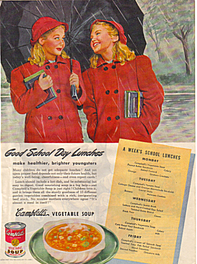 1945 Campbell's Soup TWIN GIRLS School AD (Image1)