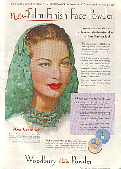 1945 AVA GARDNER Woodbury Powder AD (Image1)