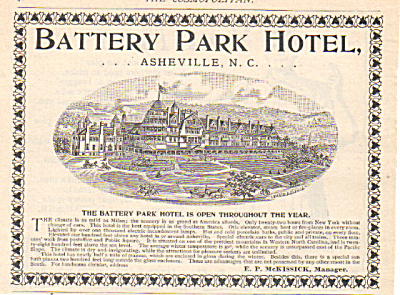 1893 Asheville, Nc Ad - Battery Park Hotel