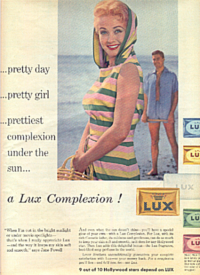 1958 JANE POWELL Lux Beauty Actress SOAP AD (Image1)