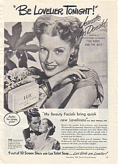 1947 Lux Jeanette Macdonald Actress Soap Ad