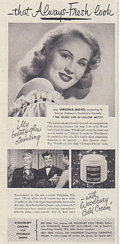 1947 VIRGINIA MAYO Woodbury Cream AD (Image1)