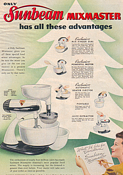 1947 Sunbeam Mixmaster Mixer Feature Ad