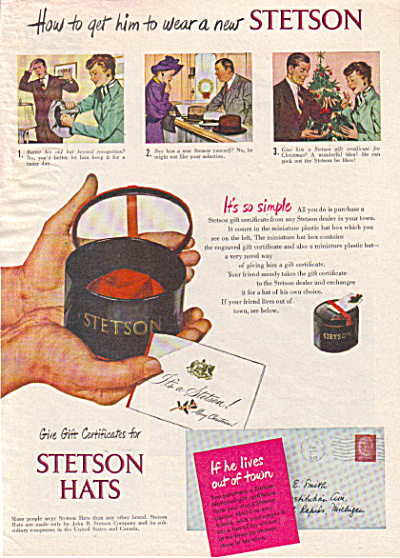 1947 STETSON HATS Original AD Get Him to Wear (Image1)