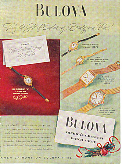 1947 BULOVA 5 Models Watch AD ORIGINAL (Image1)